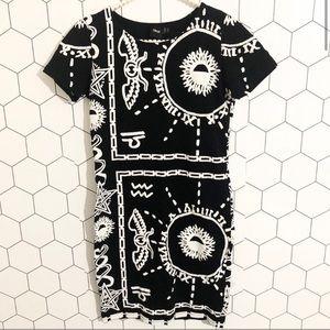 ASOS | Aztec Hieroglyphic Black T-shirt Dress